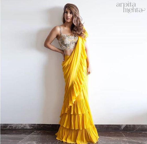 Exceptional Yellow Colored Georgette Designer Ruffle Saree