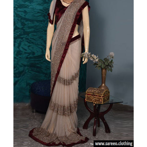 Gleaming Beige Colored Designer Georgette Sarees