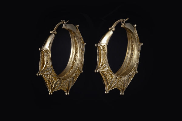 Gold Plated Sterling Silver Handcrafted Filagree Magali Big Hoop Earrings