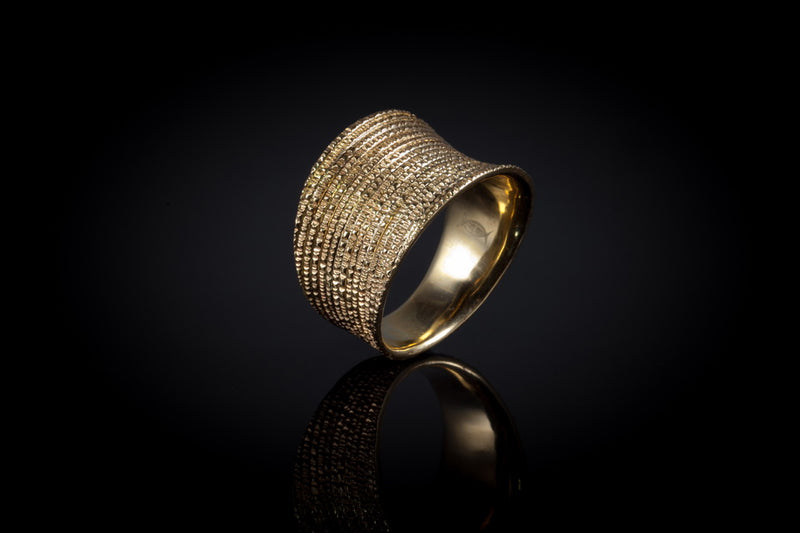 Gold Plated Sterling Silver Handcrafted Flow Saddle Ring