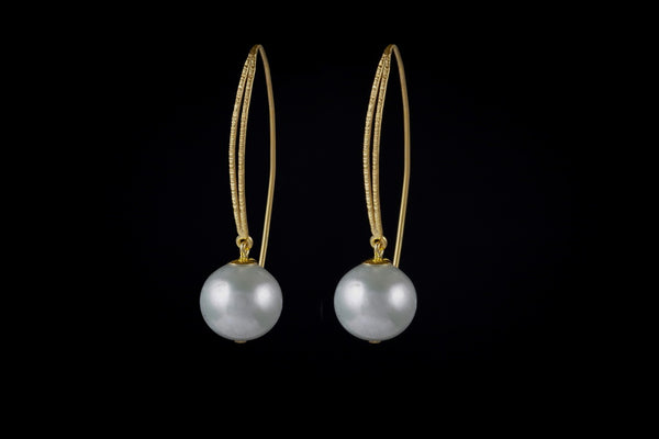 Gold Plated Sterling Silver Handcrafted Pearl Double Band Earring