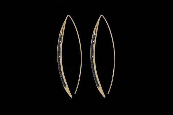Gold Plated Sterling Silver Handcrafted Black Spinel Seeds Earring