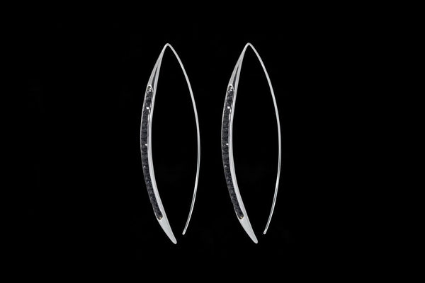 Sterling Silver Handcrafted Black Spinel Seeds Earring