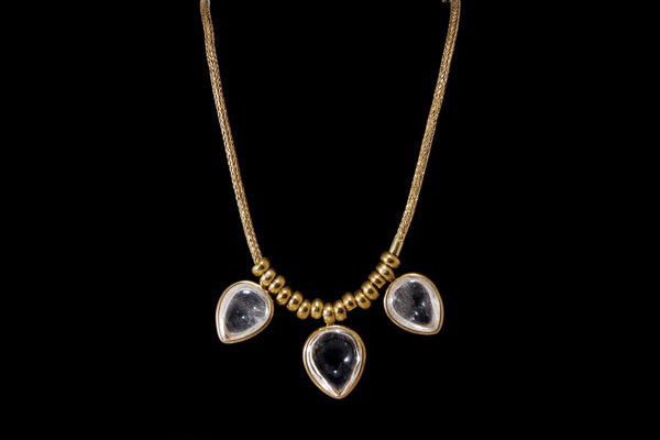 Gold Plated Sterling Silver Handcrafted Crystal Petal Necklace