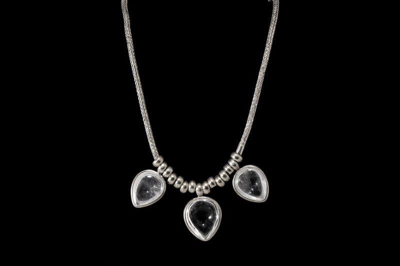 Sterling Silver Handcrafted Crystal Petal Necklace