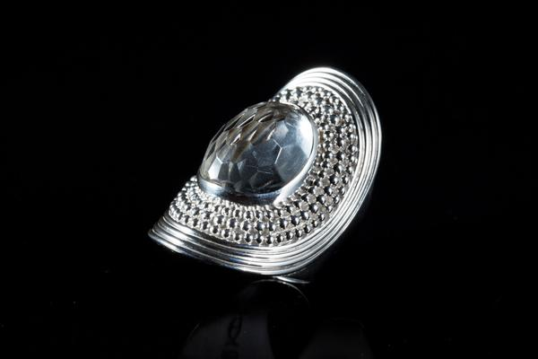 Sterling Silver Handcrafted Cleopatra Faceted Crystal Ring