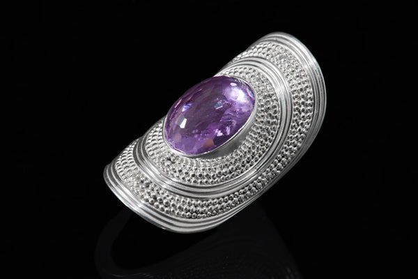 Sterling Silver Handcrafted Cleopatra Amethyst Ring