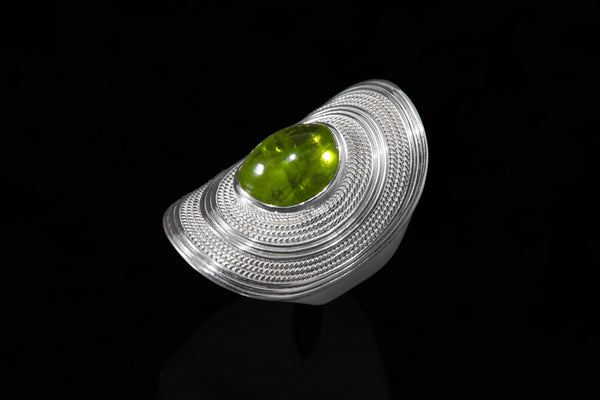 Sterling Silver Handcrafted Cleopatra Peridot Ring