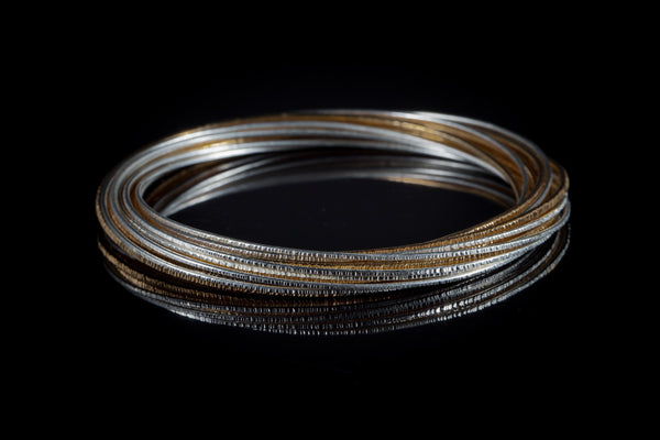 Gold Plated Sterling Silver Handcrafted Flow 2 Tone Bangle