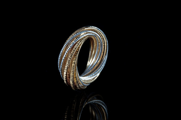 Gold Plated Sterling Silver Handcrafted 2 Tone Flow ring