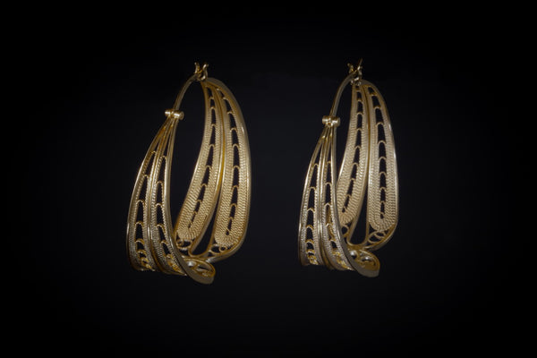 Gold Plated Sterling Silver Handcrafted Filagree Hoop Earrings