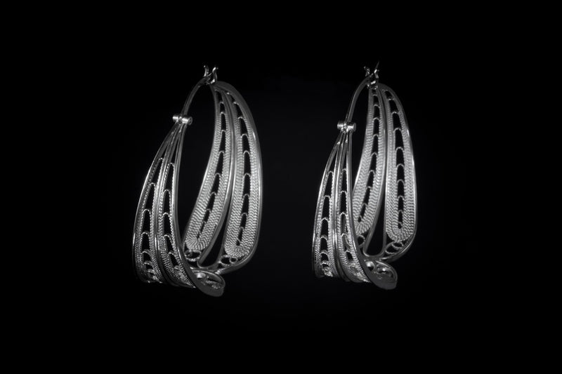 Sterling Silver Handcrafted Filagree Hoop Earrings