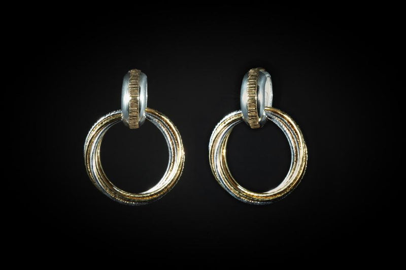 Gold Plated Sterling Silver Handcrafted 2 Tone Flow Earrings