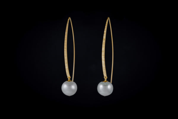 Gold Plated Sterling Silver Handcrafted Pearl Single Band Earring