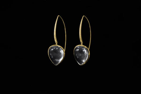 Gold Plated Sterling Silver Handcrafted Crystal Petal Earring