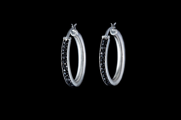 Sterling Silver Handcrafted Black Spinel Seeds Hoop Earrings