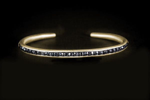 Gold Plated Sterling Silver Handcrafted Black Spinel Seeds Bracelet