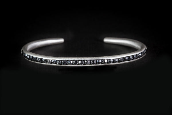 Sterling Silver Handcrafted Black Spinel Seeds Bangle