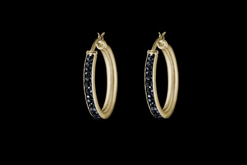 Gold Plated Sterling Silver Handcrafted Hoop Earrings, Black Spinel Seeds