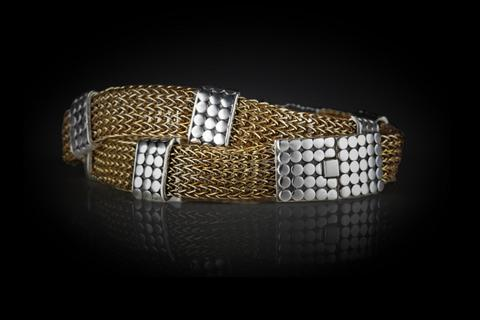 Sterling Silver and Woven Brass Wire Handcrafted Sumba Wrap Bracelet