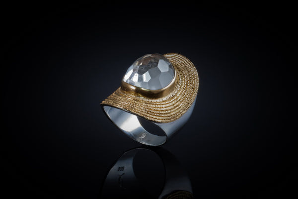 Gold Plated Sterling Silver Handcrafted Cleopatra Ring with Faceted Crystal