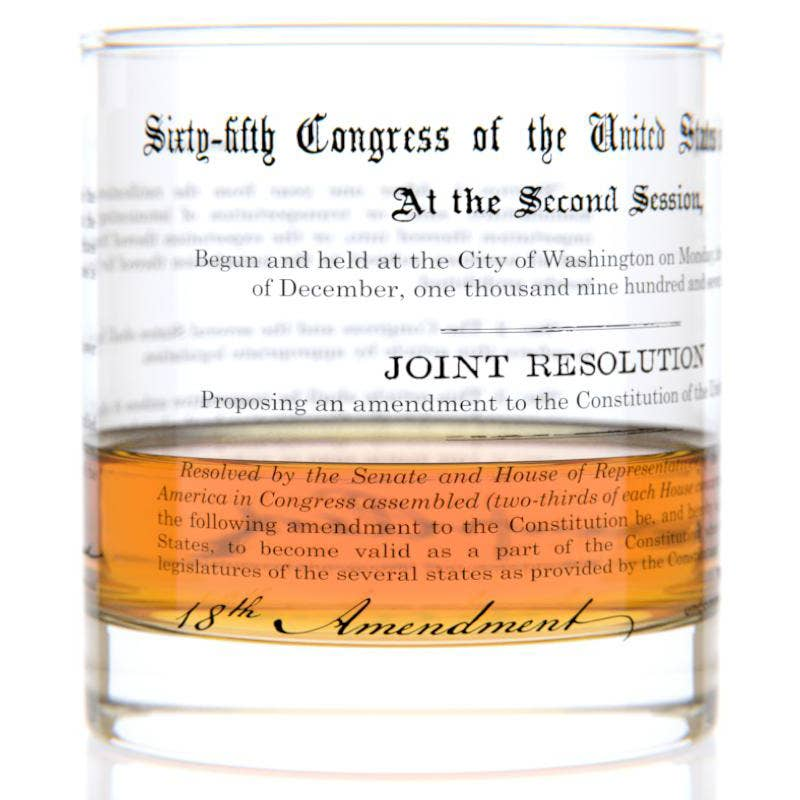 18th Amendment Rocks Glass