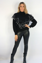 Load image into Gallery viewer, Black Frill Jumper