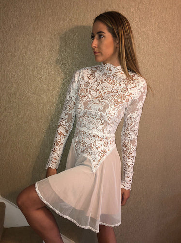 Lace long sleeved skater dress