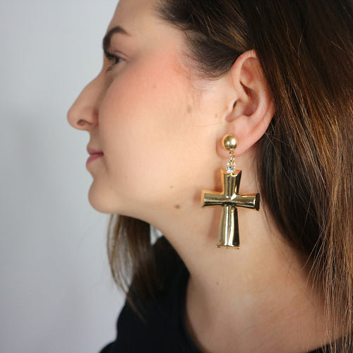 Gold chunky cross Earrings