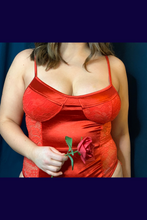 Load image into Gallery viewer, Red satin lace bodysuit