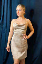 Load image into Gallery viewer, Champagne Satin cowl neck mini dress