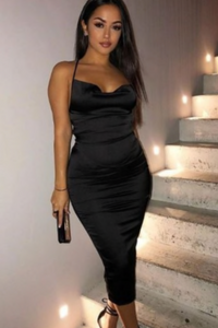 Black cowl neck satin midi dress