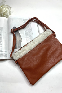 Camel faux fur shoulder bag