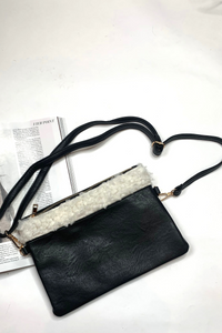 Black faux fur pu leather shoulder bag
