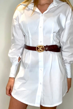Load image into Gallery viewer, Brown double snake buckle belt