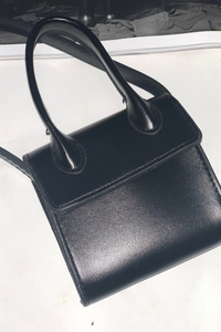 Black top handle mini bag