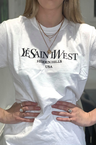 White Slogan 'YeSaintWest' t-shirt