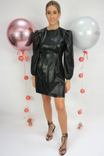 Load image into Gallery viewer, Black faux leather dress