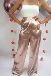 Pink metallic high waisted trousers