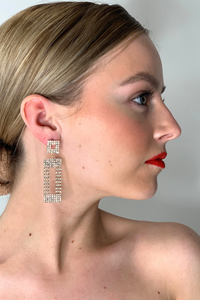 Diamante rectangle statement earrings