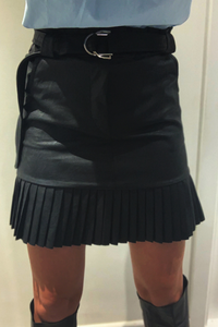 Black PU faux leather pleated skirt