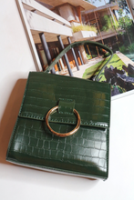 Load image into Gallery viewer, Olive croc pu top handle bag