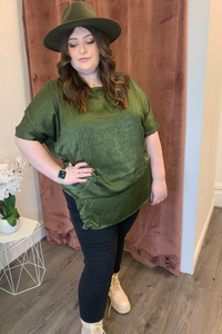 Khaki satin oversized top
