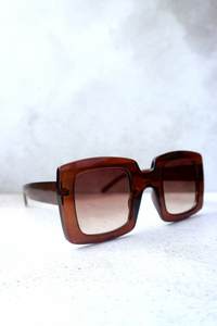 Brown square oversized sunglasses