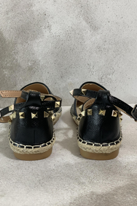 Black studded espadrilles