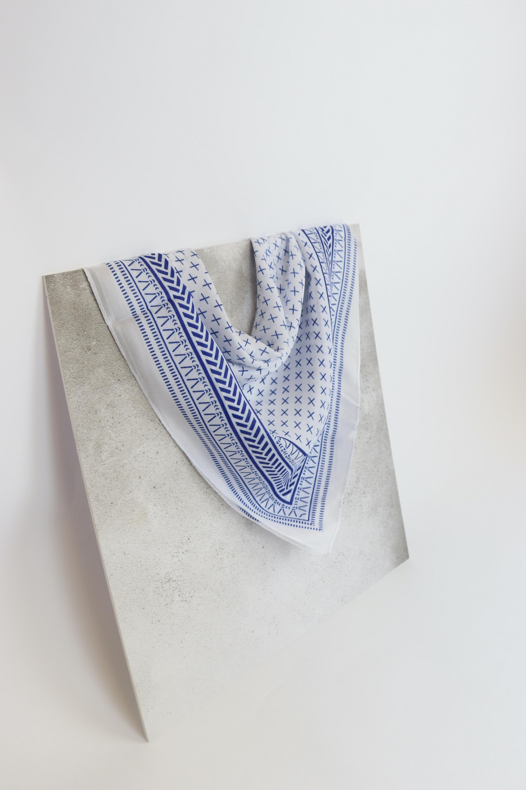 Blue & white aztec neck scarf