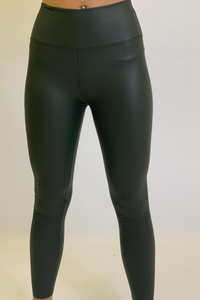 Khaki Pu leggings