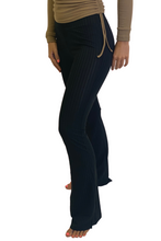 Load image into Gallery viewer, Black ribbed flared pants