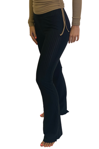 Black ribbed flared pants