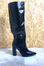 Load image into Gallery viewer, Black croc longline heeled boots